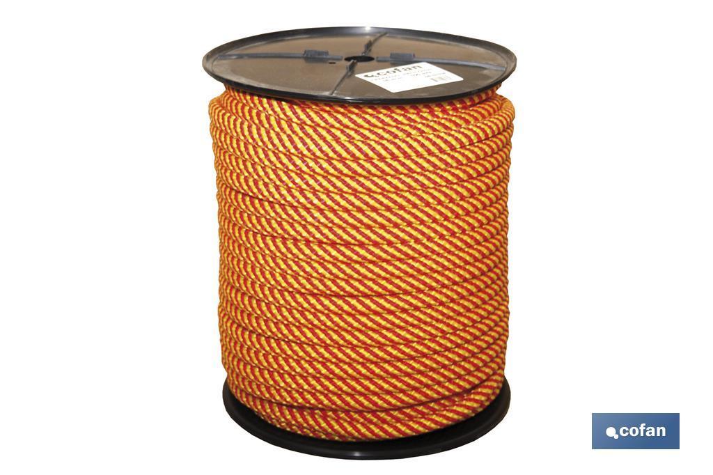 Cuerda Trenzada Helicoidal Amarillo/Rojo (100% Polipropileno)