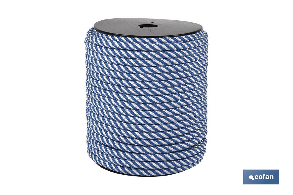 Cuerda Trenzada Helicoidal Blanco/Azul (100% polipropileno)
