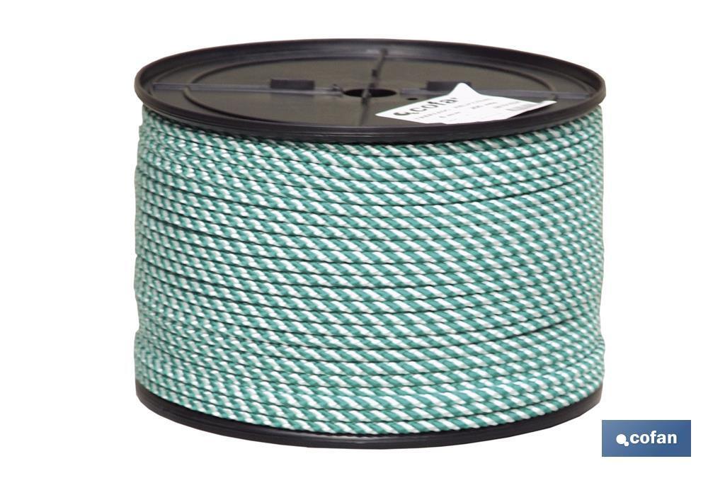 Cuerda Trenzada Helicoidal Blanco/Verde (100% polipropileno)