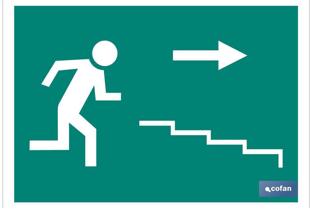 Señal Salida Escalera derecha Bajada Pictograma