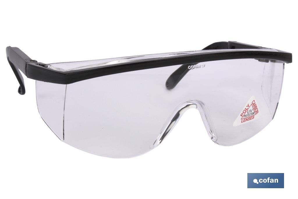 Blister Gafas de protección, Modelo Standar, contra impactos, lentes transparentes, con patillas abatibles, confortables y lige