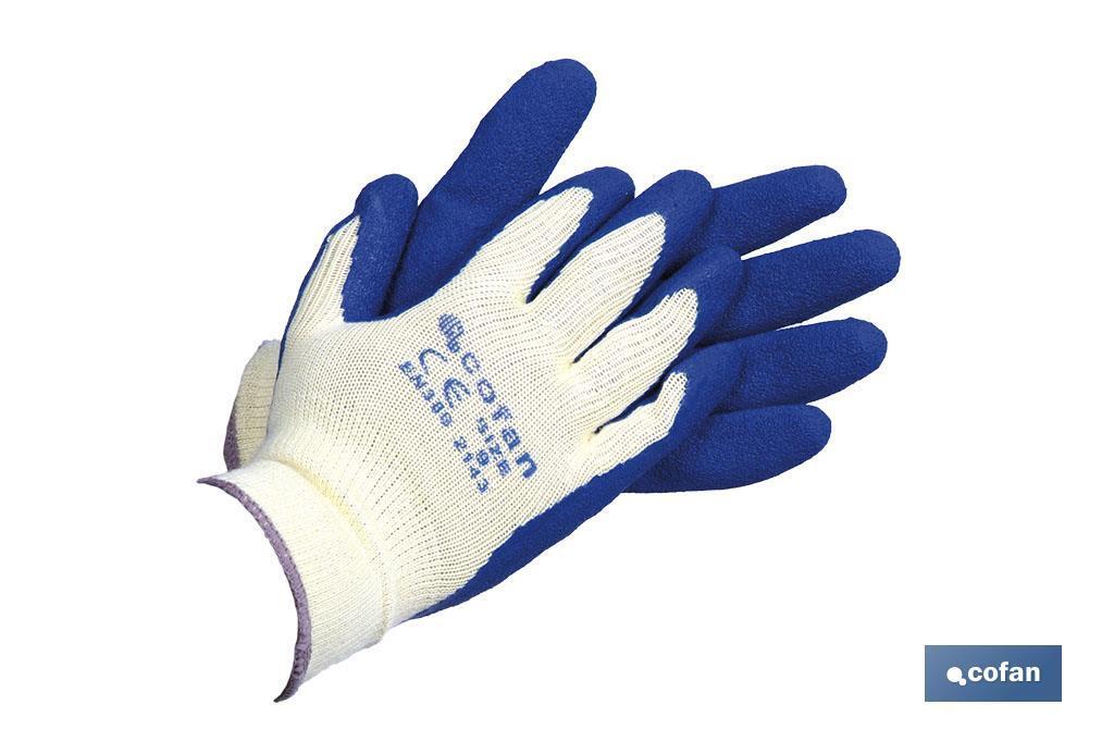 Guantes de Látex Rugoso con Soporte de Punto Azules