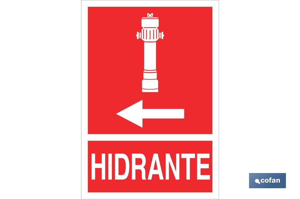 Hidrante Izquierda Pictograma + Texto Luminiscente