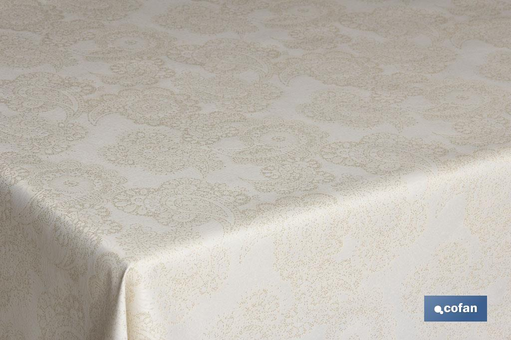 Mantel Antimanchas Premium Lino Oro Jacquard Mod.Velonia