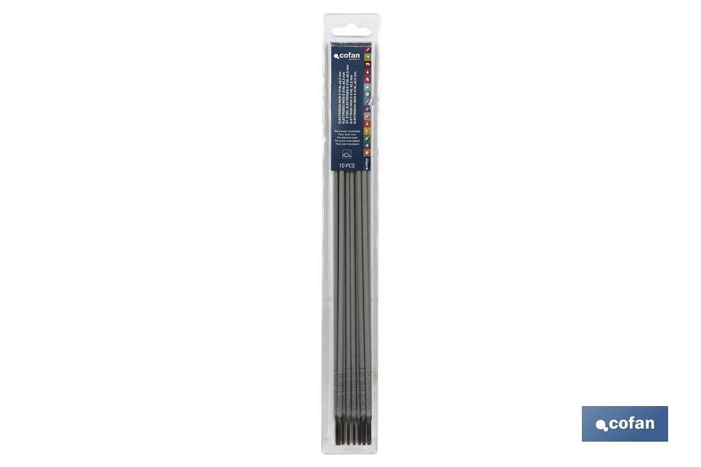 BLÍSTER ELECTRODOS INOX E-316L ø2,5mm 10UDS