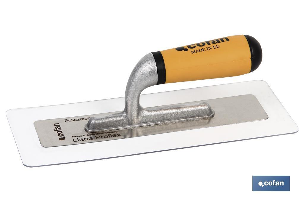 Llana Proflex de policarbonato en Acero Inox. y Aluminio con Mango Bicomponente