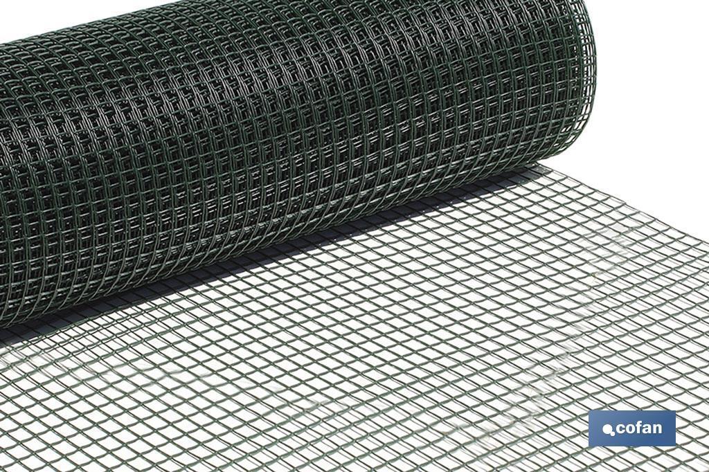 Rollo Malla Plástico Cuadrada Verde 20mm
