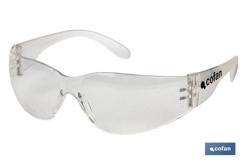 Gafas seguridad, lentes transparentes con filtro UV 400 de clase óptica (uso continuado). Muy resistentes.