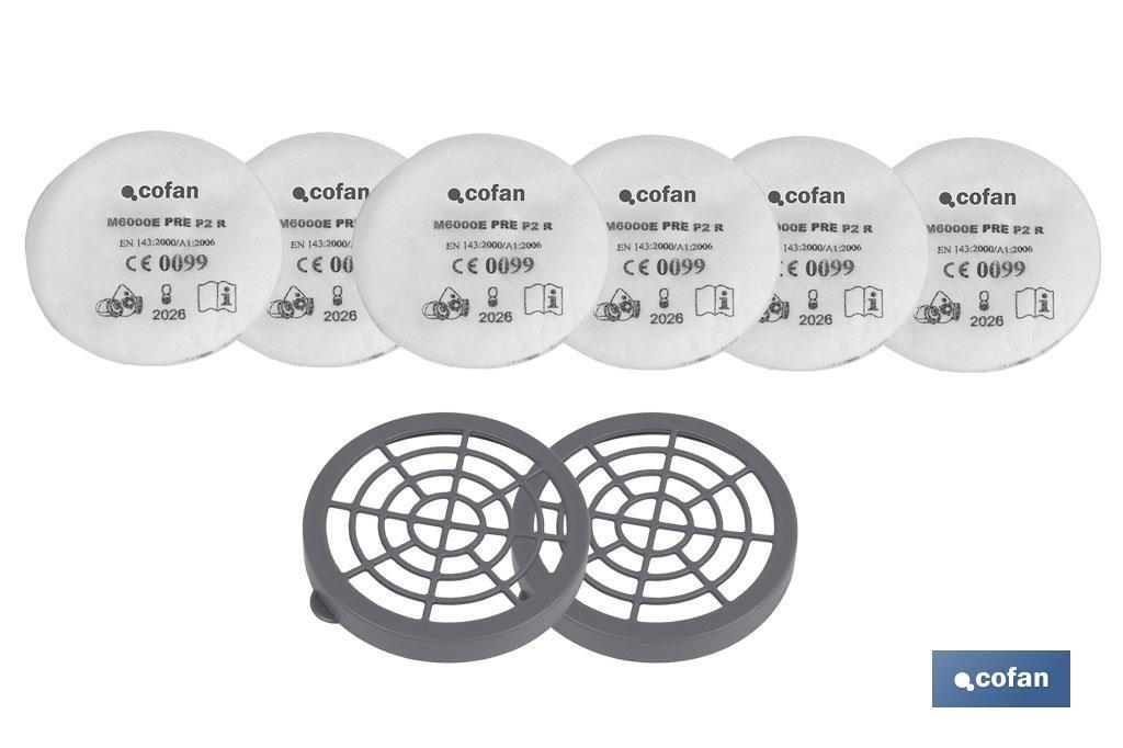 Juego. 2 plásticos + 6 prefiltros para filtros tipo A,B, E, K1