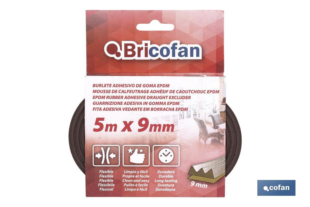 Burlete adhesivo de goma EPDM 5M X 9MM