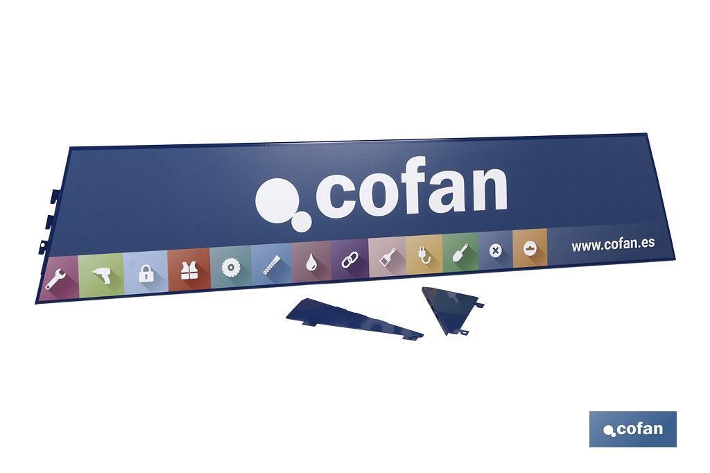 Cartela con logo Cofan expositor rincón