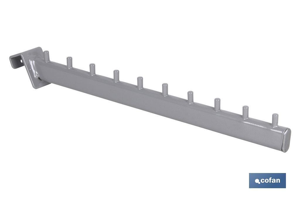 Percha Inclinada Ovalada con pivotes (para barra de carga)