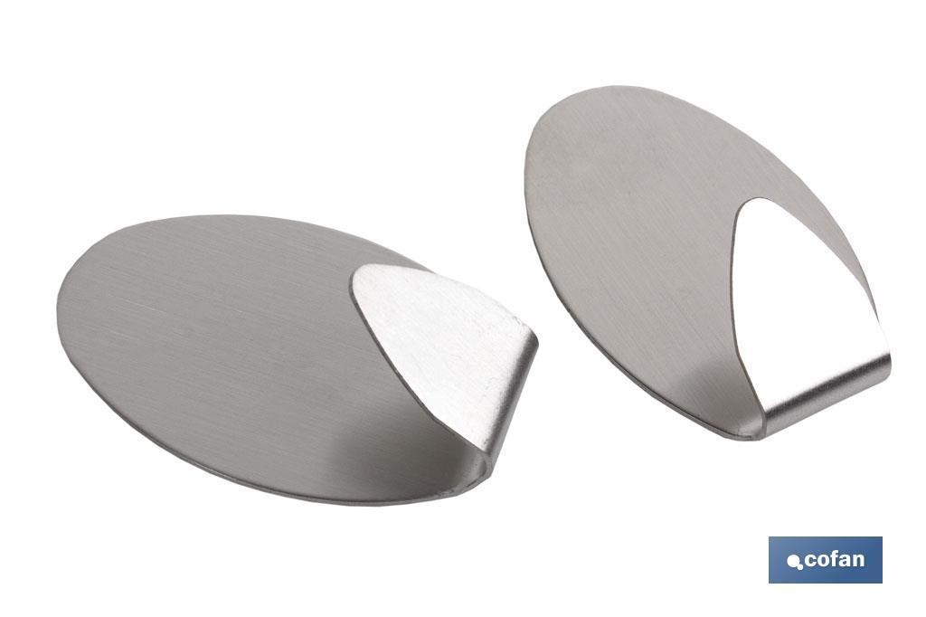 Colgador Auto-Adhesivo Oval Inox Grande