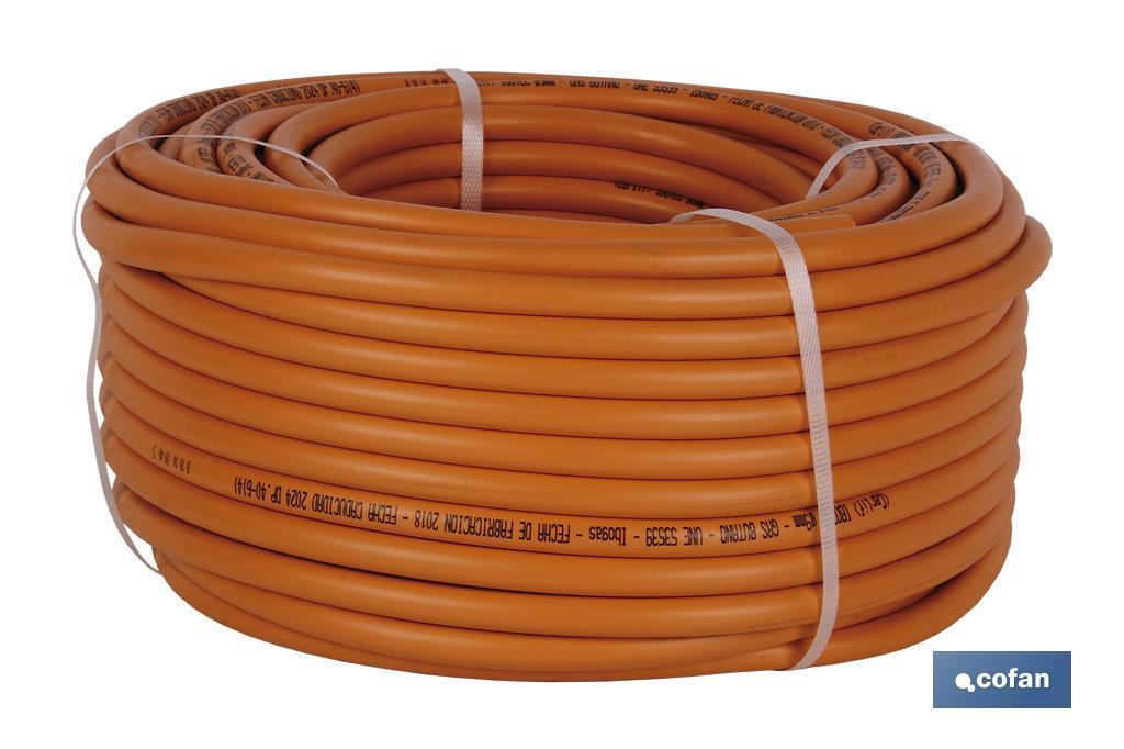 Tubo gas butano flexible Naranja