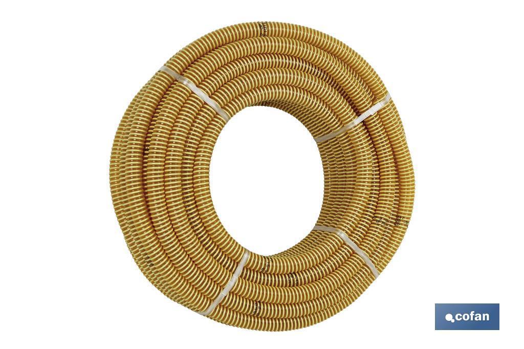 Rollo tubo espiral aspiración amarillo
