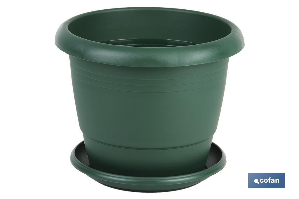 Maceta Mod. Gardenia + Plato Verde