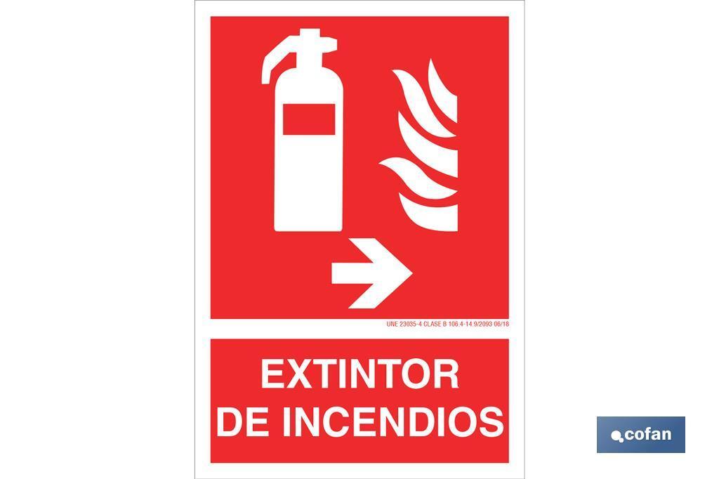 Extintor de incendios Pictograma + Texto
