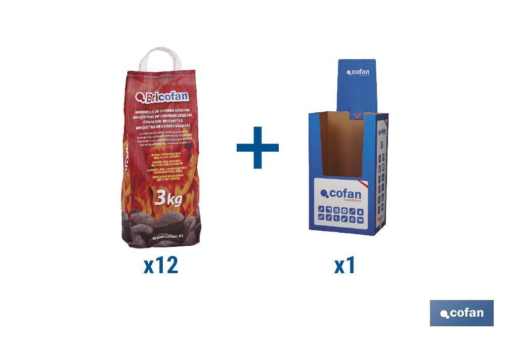 Oferta Flash 12 Bolsas de Briquetas de Carbón Vegetal y Box Cartón
