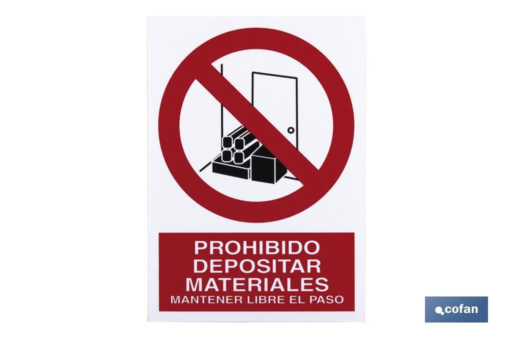 Prohibido Depositar materiales